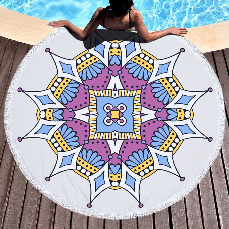 Image 2 - Lotus Mandala Printed Round Beach Towel Microfiber Towel Adults Summer Yoga Large 150cm Toalla Bath Colorful Serviette De Plage-in Bath Towels from Home & Garden