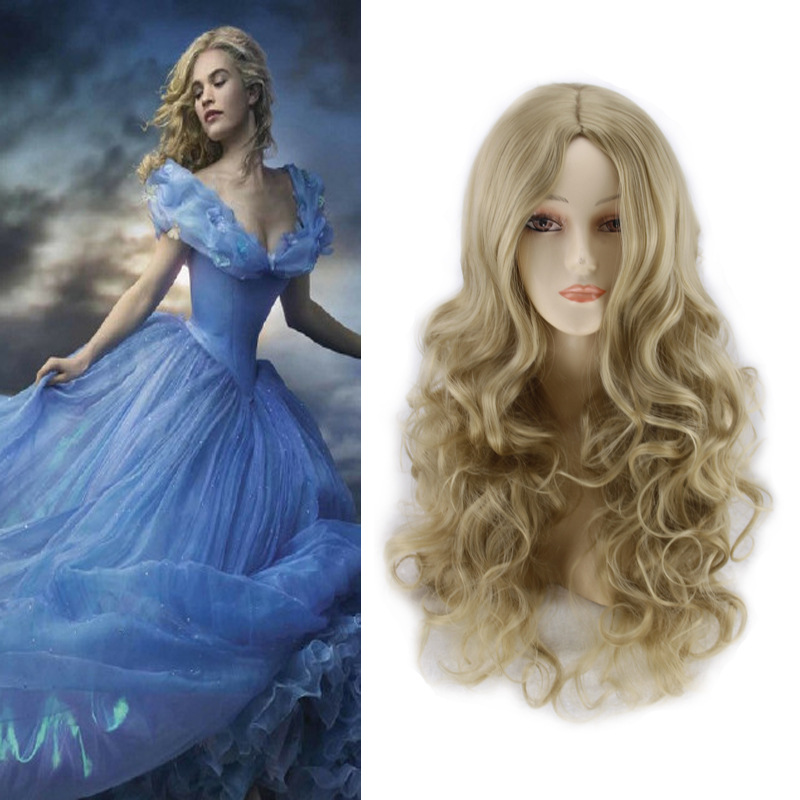 Anime Cinderella Cosplay Wig Long Curly Hair Blonde Synthetic Wigs For Women Halloween Costume Party Hairpiece Peruca