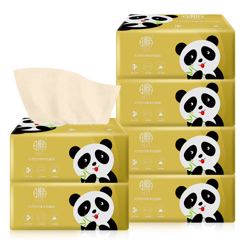 6 Packs/set Natural Color Paper-Drawing Napkins With Sun  Moon Native Pure 3-layer  Bamboo Pulp Face Tissue