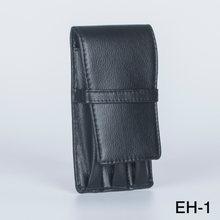 Черный кожаный чехол для 3 ручек сумка деловые офисные принадлежности