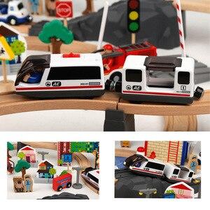 Image 3 - חשמלי רכבת מסלול סט מגנטי חינוכיים חריץ חיוניות רכבת עץ רכבת מסלול תחנת צעצוע מתנות לילדים