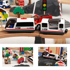 Image 3 - Electric Train Track Set Magnetic Educational Slot Brio Railway Wooden Train Track Station Toy Gifts For Kids