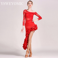 Women Latin Dresses Competition dance One Full Set Latin Dance Tops and Skirts Plus Size Latin Dresses YL143+S8032