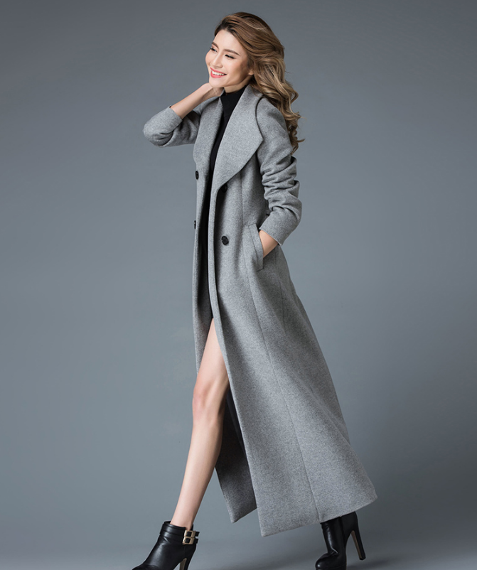 2019 Winter X Long Wool Coat Women High-end Quality Woolen Overcoat Stand Collar Double Button Classic Design