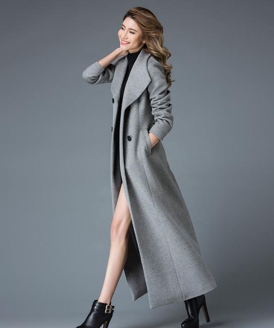7e7d321a3e8 US $147.25 5% OFF|2018 winter x long wool coat women high end quality  woolen overcoat stand collar Double button classic design-in Wool & Blends  from ...