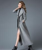 2018 winter x long wool coat women high end quality woolen overcoat stand collar Double button classic design