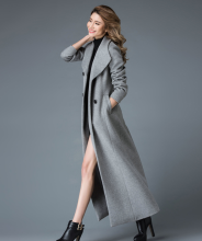 Wool Stand Collar Double Button Coat