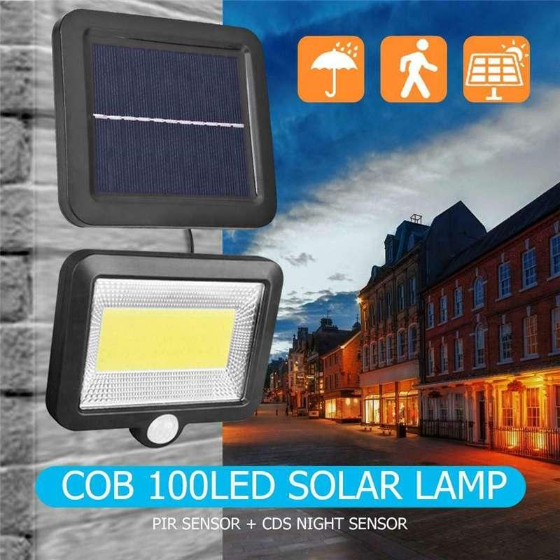 New 100 LED Solar Light Outdoors 30W COB Solar Garden Light Waterproof PIR Motion Sensor Wall Lamp Spotlights Emergency