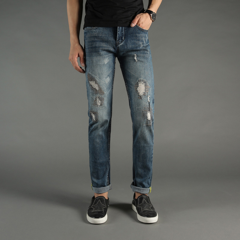 Summer Style Fashion Mens Jeans DSEL Brand Blue Color Retro Denim Stripe Jeans Men Skinny Fit Pants Elastic Stretch Ripped Jeans patch jeans men slim skinny denim blue jeans ripped trousers famous brand dsel jeans elastic pants star mens stretch jeans w701