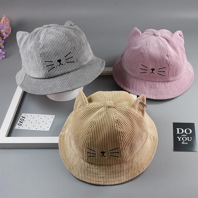be82f23429581 Baby bowl hat autumn and winter children fisherman boy and girl hat children  corduroy cartoon cat