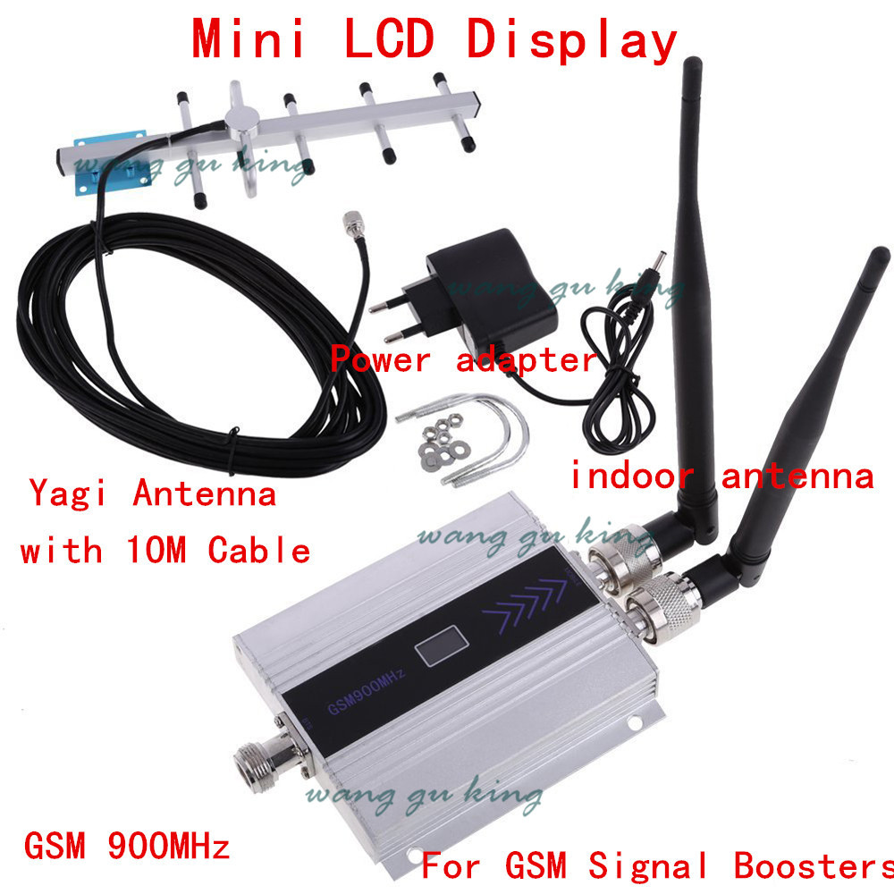 Full Set LCD Display Mini GSM 900MHz Mobile Phone Signal Repeater , GSM Signal Booster Amplifier + Yagi Antenna With 10m Cable