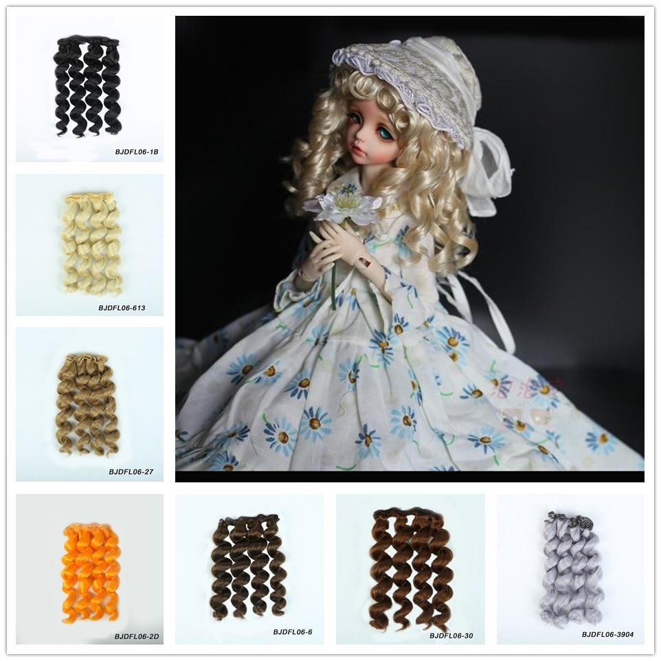 Allaosify черного, золотого, коричневого цвета Серебро Цвет короткие вьющиеся волосы 15 см * 100 см BJD парики для 1/3 1/4 1/6 куклы DIY Бесплатная доставка