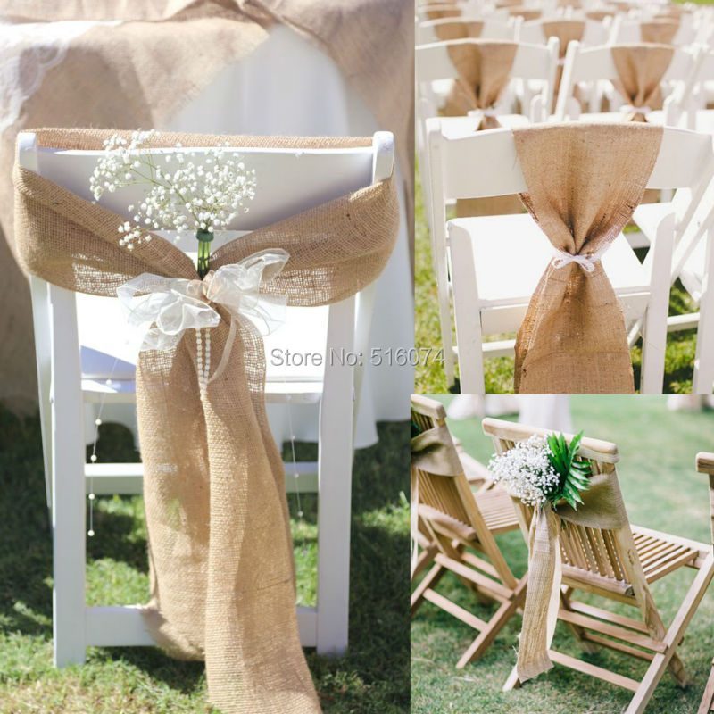 "7 Barn Wedding Decoration Ideas For A Spring Wedding: 20pcs 7""x108"" Naturally Elegant Burlap Chair Sashes Jute"