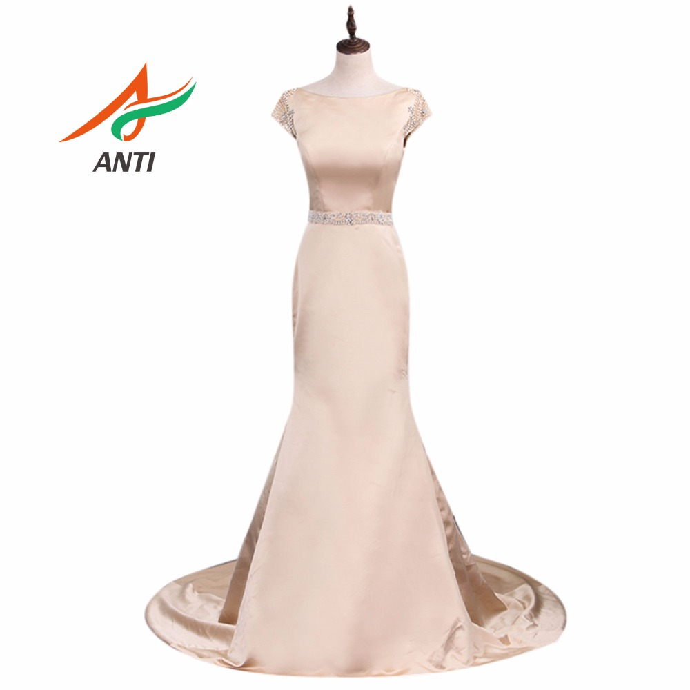 ANTI 2019 Skin Color Evening Dress Sexy Beading Long Formal Gowns Crystal Celebrity Dress Mermaid Wedding Party Abide HQY123