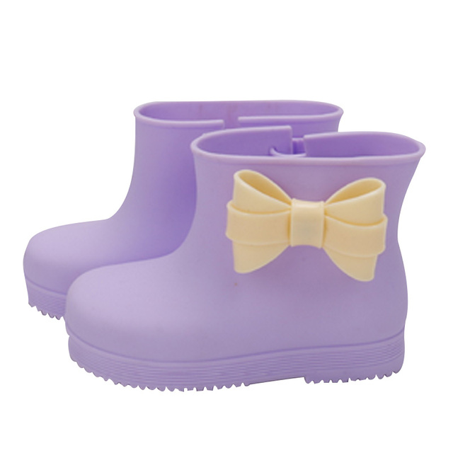 Hot Sale New Design 5 Colors Children Rainboots Brand Girls Bow Knot Rainboots Kids Rain Boots Waterproof Raining Shoes