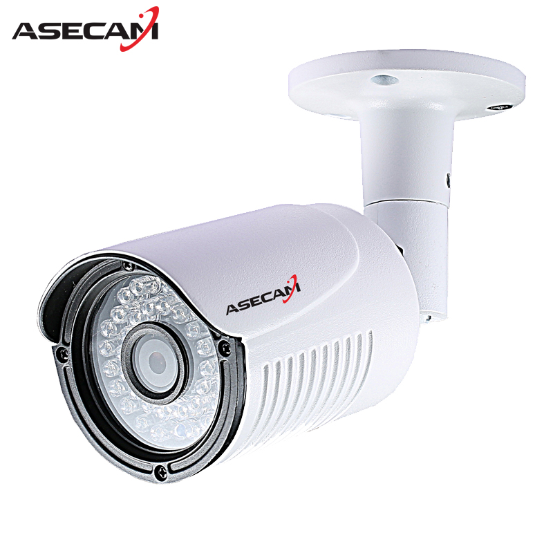 Asecam HD 720P IP Camera CCTV Infrared 48V POE White Bullet Metal Waterproof Outdoor Onvif WebCam Security Surveillance p2p outdoor waterproof white metal case 1080p bullet poe ip camera with ir led for day