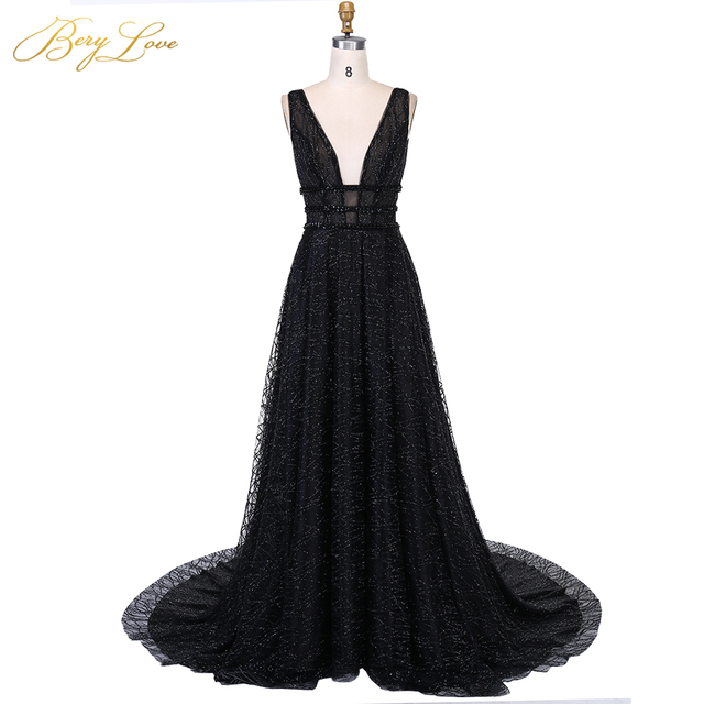 04f1a3adcd BeryLove Long Sexy Black Evening Dress 2019 Low Back Gown Formal Party Dress  Prom Special Occasion Open V neck Dress Sleeveless