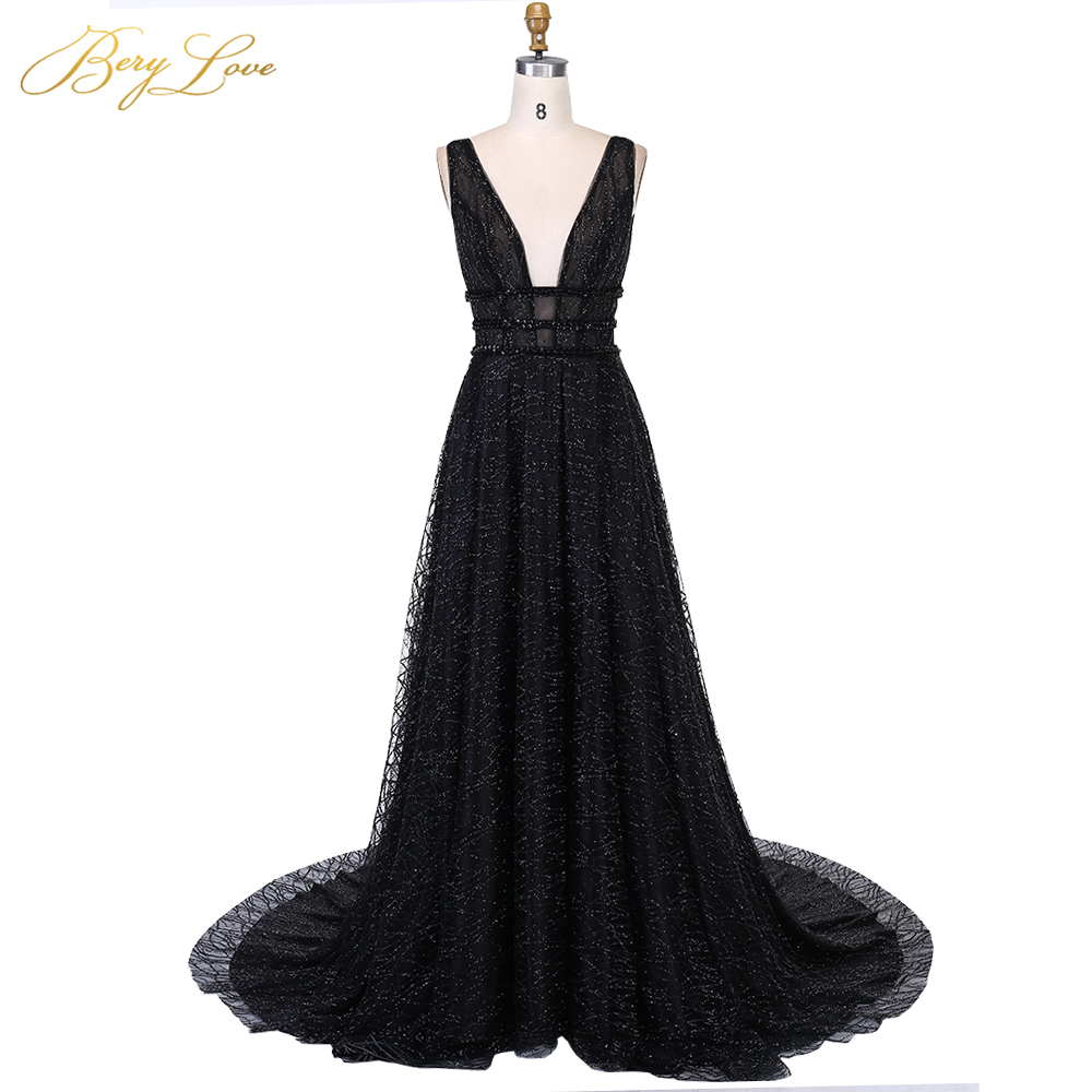 BeryLove Long Sexy Black   Evening     Dress   2019 Low Back Gown Formal Party   Dress   Prom Special Occasion Open V neck   Dress   Sleeveless