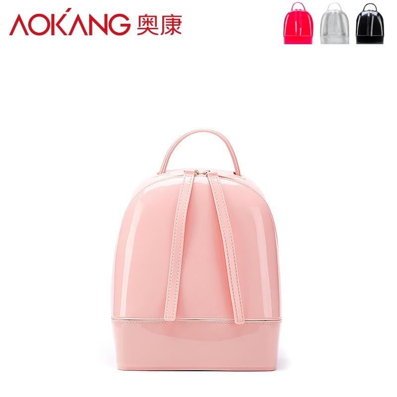 ФОТО AOKANG 2016 personality fashion backpacks school bags for teenagers mochila PU  leather backpack wholesale