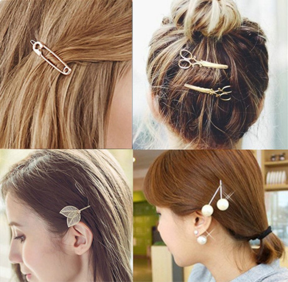 Simple Star Heart Metal Hair Clip Hairband Bobby Pin Barrette Hairpin Headdress