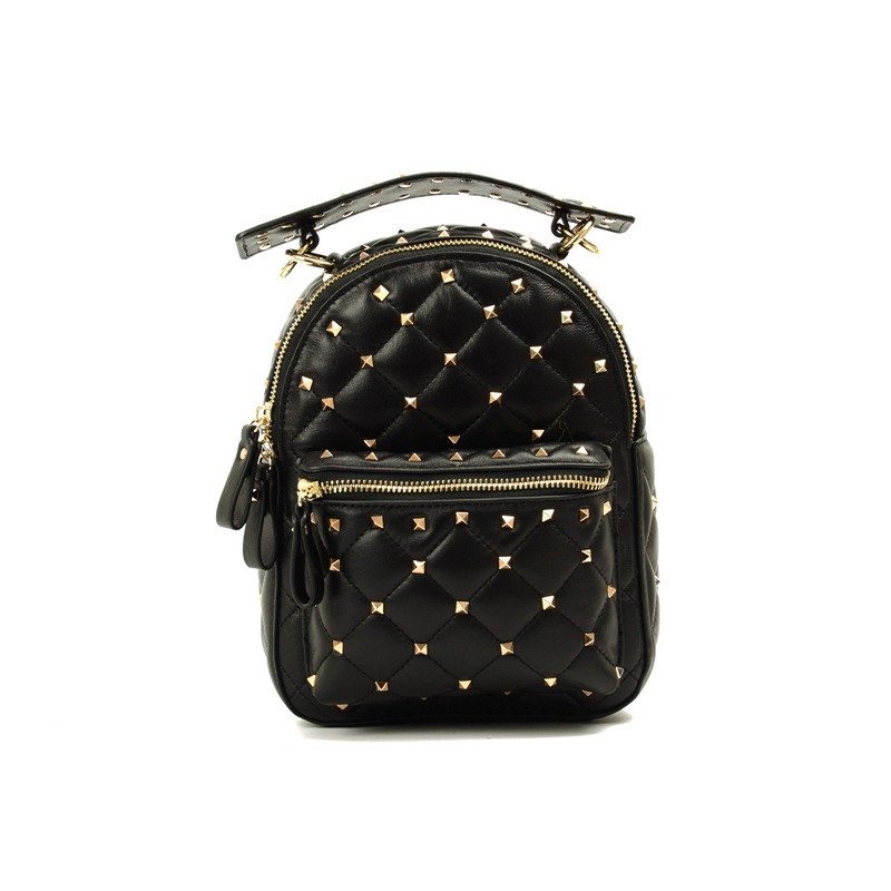 Yicana 2018 women's new style Genuine Leather Backpack sheepskin rivet Genuine Leather Ladies Bag genuine leather