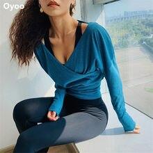 Oyoo roupa de malha esportiva super macia, camisa feminina de mangas compridas, com estampa sensual, para yoga, fitness, inverno, roupas de academia