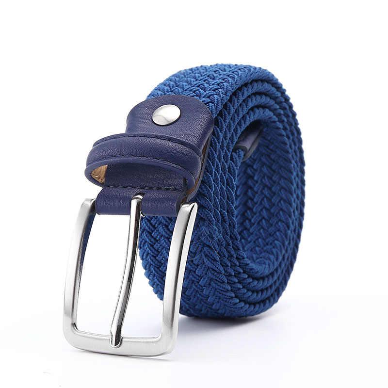 """Мужской синий эластичный пояс, Холщовый эластичный плетеный кожаный ремень 1-3/8 """"широкий горячий металлический эластичный ремень для мужчин"""