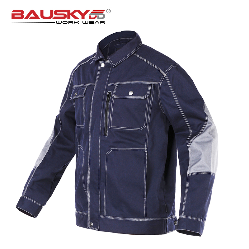 Bauskydd Mens workwear multi pocket dark blue work jacket workwear mechanic construction Jacket men ws715 men s autumn winter wear multi pocket polyester slim jacket deep blue yellow l