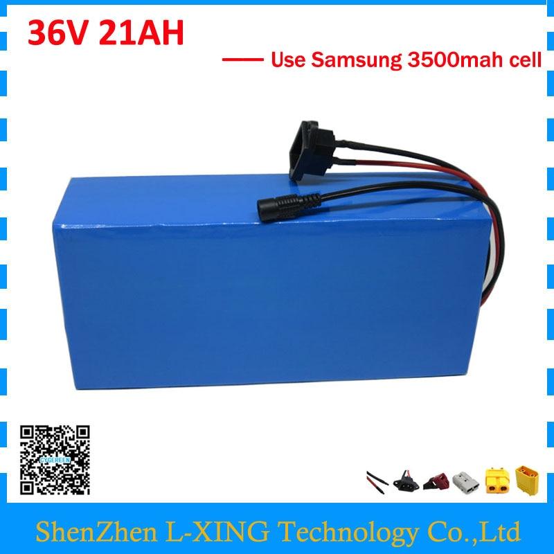 Livraison frais de douane 36 V batterie au lithium 36 V 21AH ebike batterie de scooter utiliser Samsung 3500 mah 35E cellulaire 30A BMS 2A chargeur