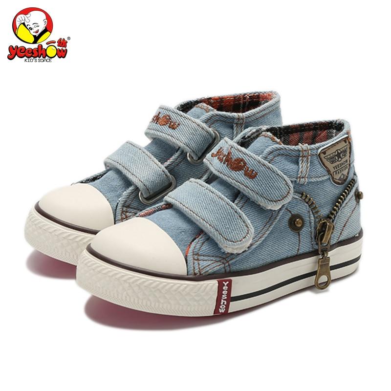 Новинка 2018 г. Весна Холст Детская Обувь для мальчиков Спортивная обувь Брендовая обувь для детей для джинсы для девочек джинсовые сапоги на плоской подошве для маленьких Обувь
