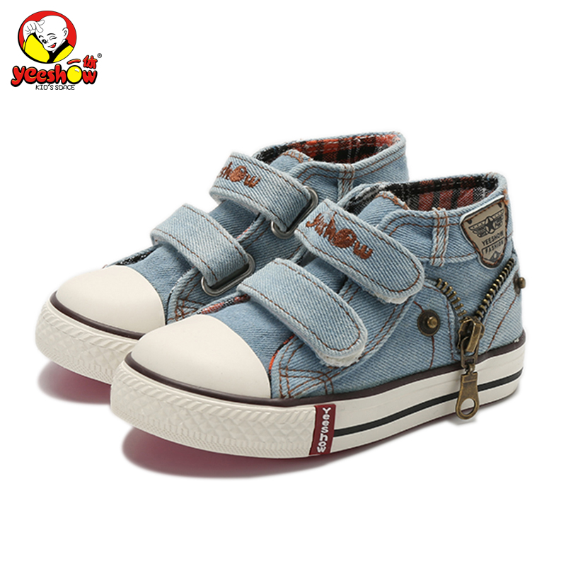 Nya 2019 Våren Canvas Barnskor Pojkar Sneakers Märke Barnskor för flickor Jeans Denim Flat Boots Baby Toddler Shoes