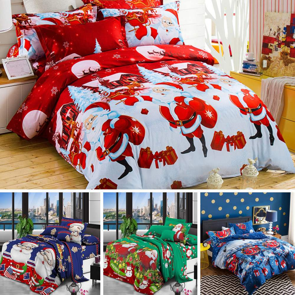 4pcs Christmas Theme Soft Polyester Cotton Sheets Duvet Cover Pillow Case Bedding Home Textile Queen Size Bed Set Bedclothes