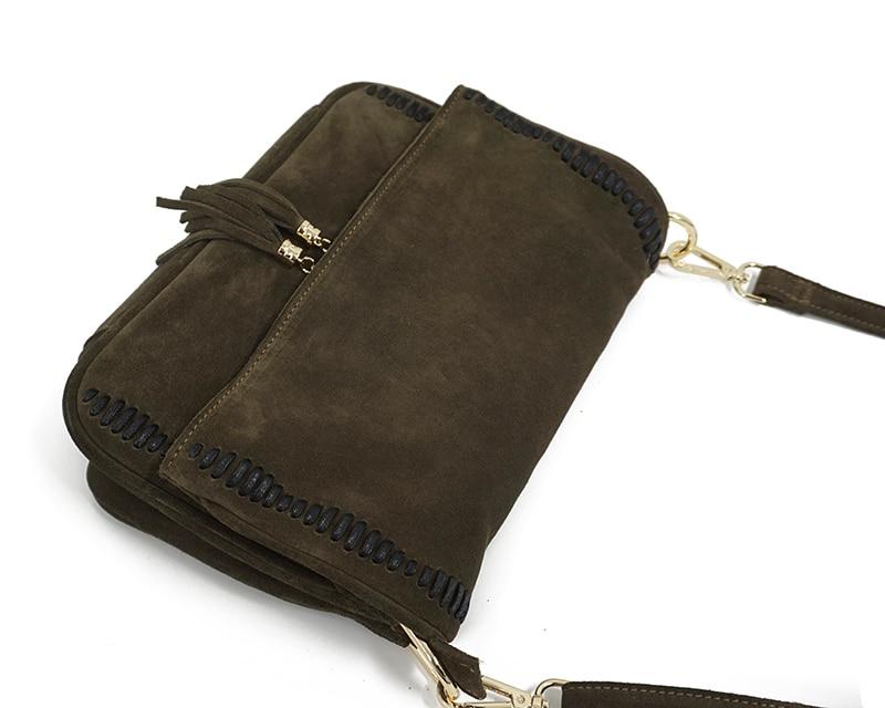 Bolsa mensageiro de couro de camurça com