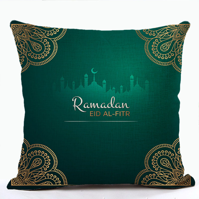 Islam Muslim Pillow Case Sacred Ramadan Decorations Sofa Cushion Cover Cotton Eid Mubarak Pillow Cover Home Decor Wholesale
