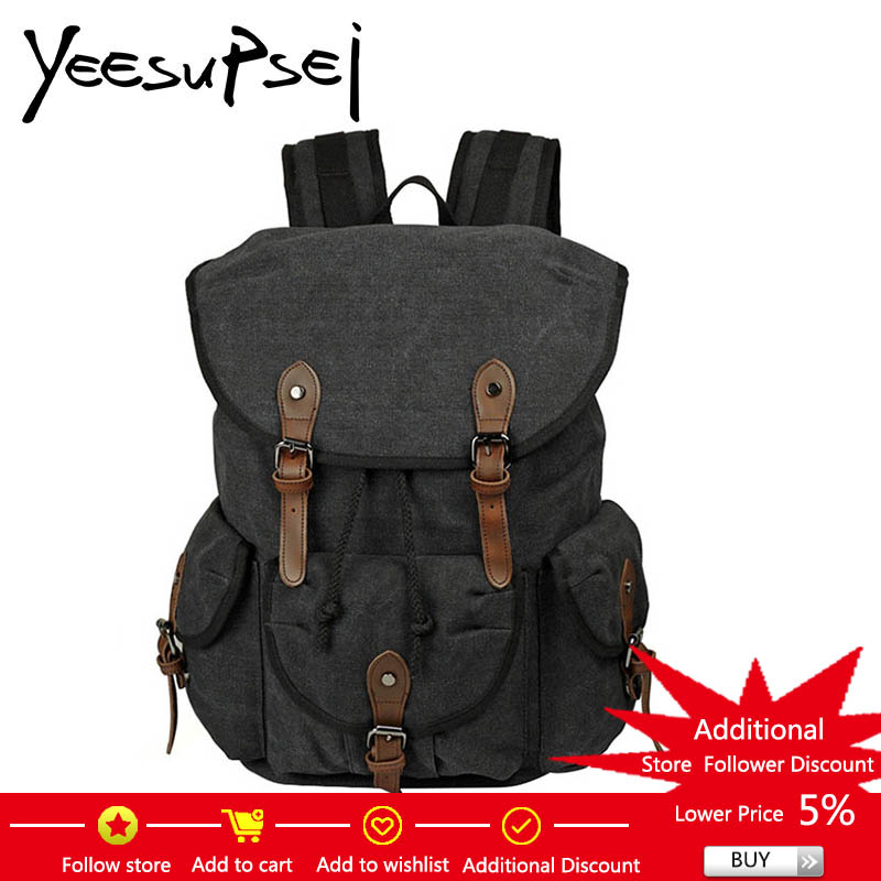 YeeSupSei Canvas Men Travel High Quality Bag Men Big Bag Travel Backpack Leather Buckle Weekend Bag Overnight Large Capacity Bag edgy trendy casual canvas backpack men large capacity simple backpack fashion hook buckle travel bag durable rucksack