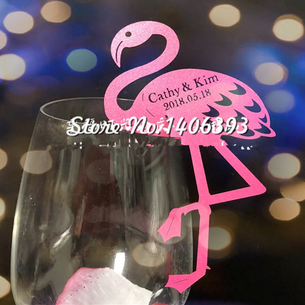 60pcs Laser Cut Paper Pink Flamingo Wine Glass Card Name Place Cup ...