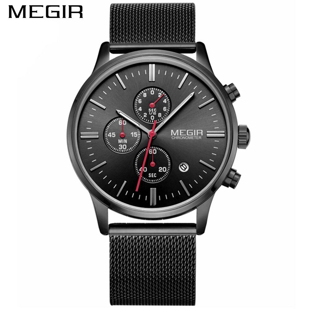 Moda simple elegante Top marca de lujo MEGIR Relojes hombres correa - Relojes para hombres - foto 5
