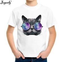 Joyonly 2018 Children Print Cartoon T-shirt Cat in Sunglasses