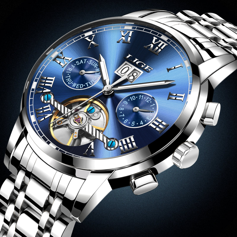 New LIGE Luxury Brand Mens Automatic Watches Men Fashion Casual Watch Man Waterproof Full Steel Business