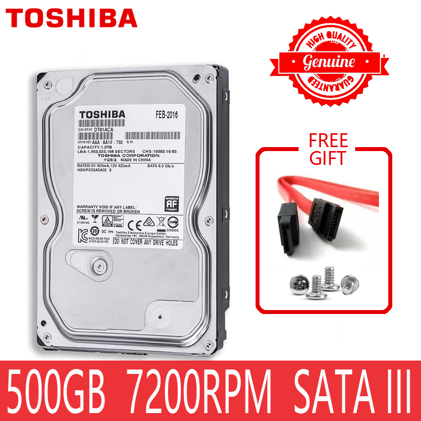 "TOSHIBA 500GB Internal Hard Drive Disk Harddisk HDD HD 500 GB 500G SATA III 3.5"" 7200 RPM 32M Cache for Desktop Computer 1"