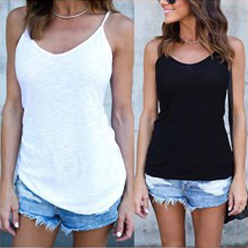 Hengshikeji Womens Summer Tops Loose Fit Spaghetti Strap Camisoles Tunic Tank Sleeveless Blouse Shirts Teen Girls