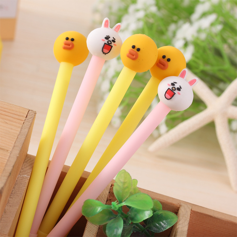 Signature Pen Korean Stationery Small Fresh Cute Cartoon Super Cute Rabbit Pen 0.38 Mm Gel Pen Creative School Supplies
