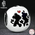 925 Sterling Silver Charm Minnie & Mickey Forever Charms fit Original Pandora Bracelet Jewelry Beads Jewelry making S255