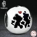 925 Sterling Silver Charm Minnie & Mickey Siempre Encantos fit Pandora Original Pulsera Granos de La Joyería fabricación S255