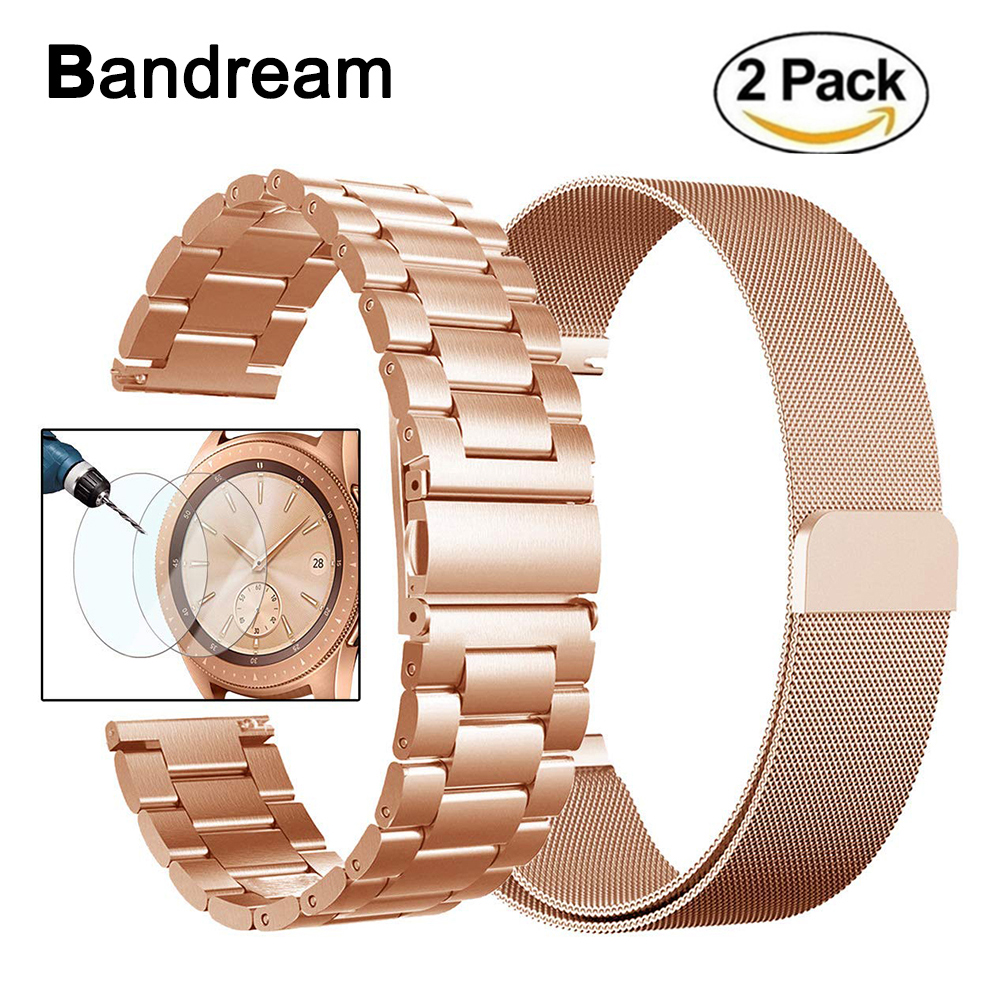 20mm Milanese Loop & Stainless Steel Watchband For Samsung Galaxy Watch Active 42mm Gear S2 Classic Gear Sport Band Wrist Strap
