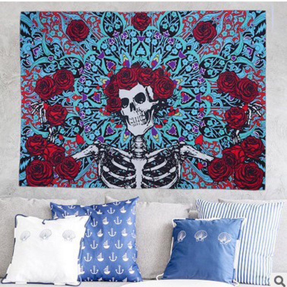 Fashion skull printed tapestry wall hanging punk styles mandala mats blanket beach <font><b>towel</b></font> flower tapestry