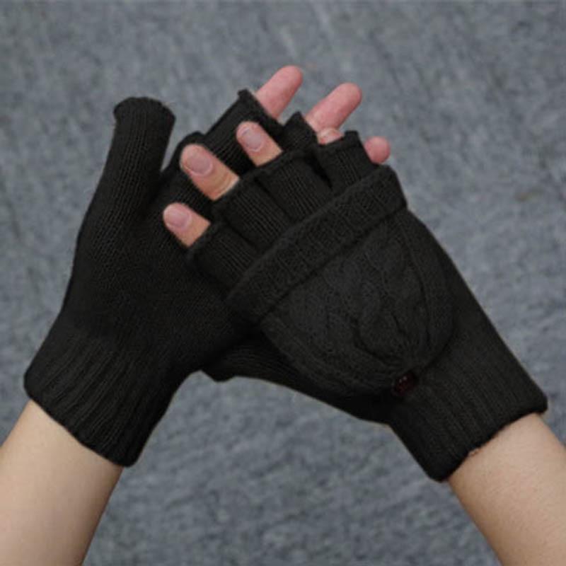 Outdoor Winter Snowflake Flip Top Fingerless Gloves Warm Women Knitted Mittens Attractive Appearance Women's Gloves