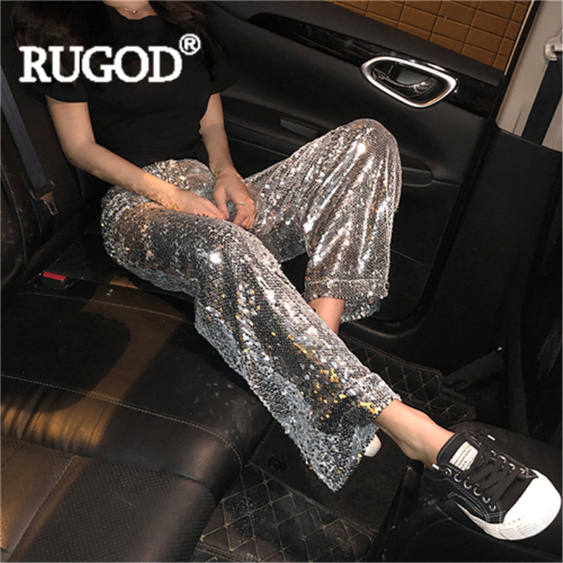 RUGOD Women solid   pants   sequined glitter loose   wide     leg     pants   slim hip hop 2019 new arrival special fashion female sexy cool