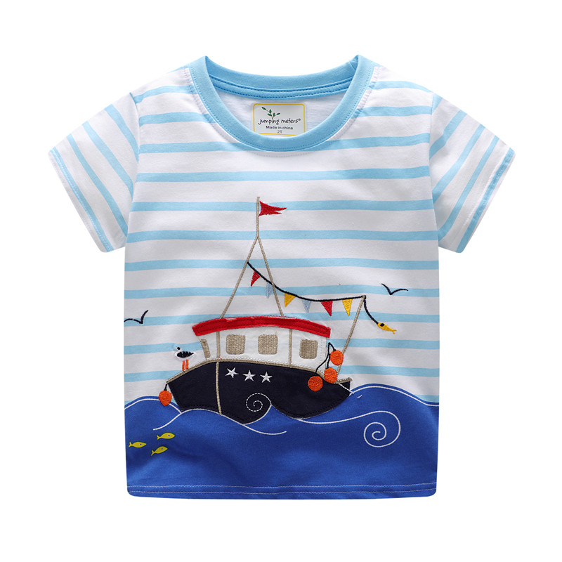 Jumping meters applique kids boys cotton T shirts striped summer children clothes embroidery printed models boy baby tops tees ...