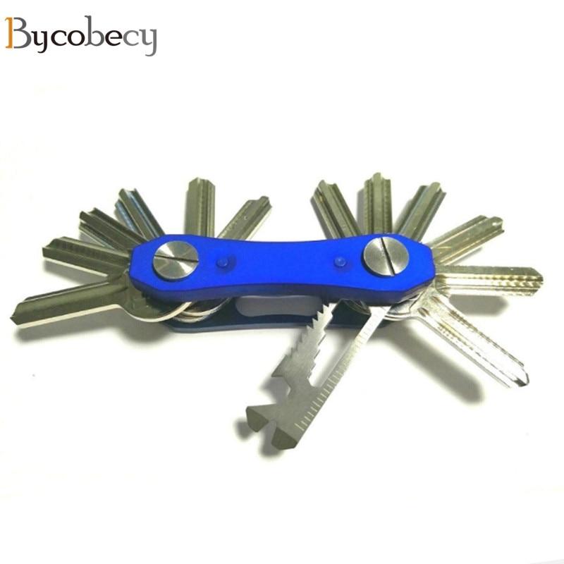 BYCOBECY Car Key Holder Chain Smart Key Wallets Ring Housekeeper Oxide Aluminum DIY EDC Pocket Key Organizer Smart Collector paulone outdoor compass edc tools key chain metal key ring спортивные крючки